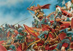 Germanic tribesmen attack Roman legionaries. - art by Peter Dennis