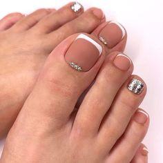 Acrylic Toe Nails, Classy Acrylic Nails, Toe Nail Art, Pretty Toe Nails, Cute Toe Nails, Neutral Nail Designs, Neutral Nails, Manicure, Pedicure Nails