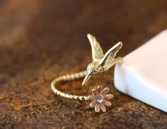 Humming Bird w Flower Ring Women's Girl's Animal Ring Jewelry Adjustable Wrap Ring Color Select gift idea