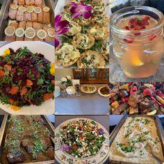 Salmon, spinach artichoke feta tarts, tropical mojito, beet-butternut squash & asparagus salad, grilled veggies, beef short ribs, Greek salad, root veggie mash