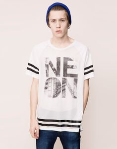 PERFORATED T-SHIRT WITH PRINT - T-SHIRTS - MAN - PULL&BEAR Mexico