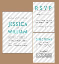 Modern Stripes DIY Wedding Invitation by AffordableDIYWedding