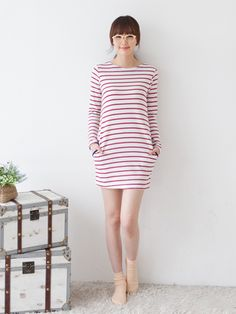 #Korean #stripes #dress #fashion www.koreanfashionista.com
