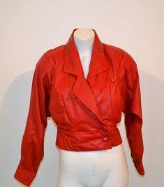 Vintage Jacket Red Leather Bolero Crop Vintage Closet, Vintage Boots, Vintage Jacket, True Red, Girls Sweaters, Boho Gypsy, Leather Jacket, Red Leather, Coat