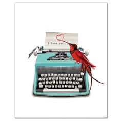 I love you VintageTypewriter heart print words pop by RococcoLA