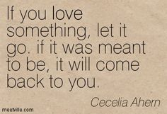 If you love something, let it go. if it was meant to be, it will come back to you. Cecelia Ahern