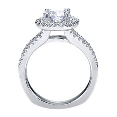 14k White Gold Refined Contemporary Style  Halo Gh/sl Engagement Ring  That Holds   Center Stone.   Gabriel & Co NY   ER4112W44JJ