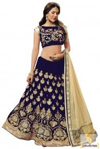 Cobalt Blue Cream Velvet Designer Lehenga Choli Online with Price