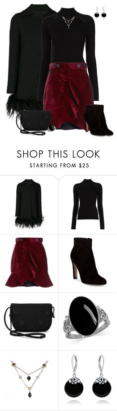 """Velvet Flounce Skirt"" by kimzarad1 ❤ liked on Polyvore featuring Boutique Moschino, self-portrait, Gianvito Rossi, TOMS, Konstantino and Bling Jewelry"