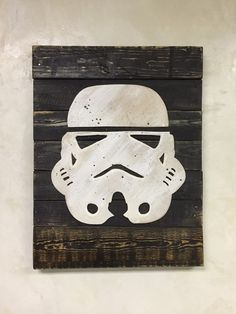 Reclaimed Distressed Pallet Wood Stormtrooper Wall Art