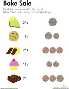 Money Counts & Count it Up Leaf for daises Worksheets: Bake Sale Financial literacy