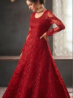 Siya Fashion Beautiful Red Color Net With Satin Inner Anarkali Suit Gown Style Dress, I Dress, Floor Length Anarkali, Long Kurtis, Indian Party Wear, Festival Wear, Fashion 2020, Indian Fashion, Long Frock