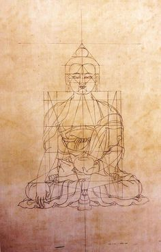 The golden ratio of the Buddha, from the Tibetan Book of Proportions. 18th Century.