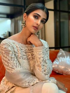 Mohenjo Daro actress Pooja Hegde's latest photo shoot pictures have taken social media by storm. In a white traditional avatar, Pooja looks gorgeous to say the least. Check out the photos right here Top Celebrities, Indian Celebrities, Bollywood Celebrities, Beautiful Celebrities, Beautiful Ladies, Indian Bollywood Actress, Indian Actresses, Bollywood Girls, Star Wars