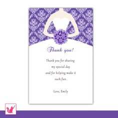 Bridal Shower Thank You Card Damask Note Dress Wedding Greeting S Message Purple