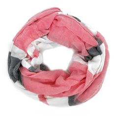 Just Jewelry Stripe Scarf- Coral- $19