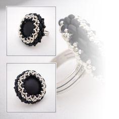 BAGUE avec CABOCHON EN LUNASOFT noir et argenté : Bague par passion-bijoux