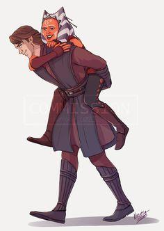 Flat colour Commission - Anakin and Ahsoka
