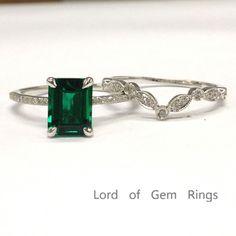 $549 Emerald Shape Emerald Engagement Ring Sets Pave Diamond Wedding 14k White Gold 6x8mm Art Deco Band