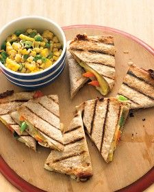 Fresh Veggie Grilled Quesadillas--Using raw vegetables in these grilled quesadillas yields a crisp-tender texture and a decidedly fresh flavor perfect for a hot day. Plus, it's a great way to save time.