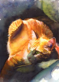 cat by Alex Carter Nice lighting, manages to make a cat painting without it looking like grandma's art