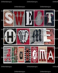 Alabama Crimson Tide Sweet Home Alabama Framed Alphabet Photo Art Print #Alabama