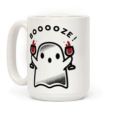 Get graveyard smashed with this cute spooky ghost! This fun Halloween mug features an illustration of a ghost double fisting wine goblets.