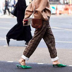Balenciaga green kitten heel mules | Street Style