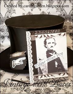 Black and White Halloween with vintage old top hat and Edgar Allan Poe notebook for Julia
