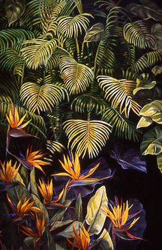 Tropical Flower Acrylic Painting