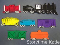 This flannelboard has been a labor of love. I started working on this in August, during some downtime. After doing one car just plain out of felt, I decided I really wanted to re-learn how to embro… Flannel Board Stories, Felt Board Stories, Felt Stories, Flannel Boards, Trains Preschool, Preschool Ideas, Preschool Library, T Is For Train, Educational Activities For Toddlers