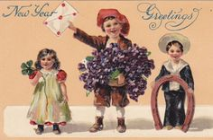 (5 1/2 x 3 1/2 In) This is an original vintage postcard from the 1900s. It shows three little children bringing a lucky new years greeting of a