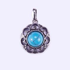 """Ezüst türkiz köves medál """"áttört.virág"""" Belly Button Rings, Jewelry, Jewlery, Jewerly, Schmuck, Jewels, Belly Rings, Jewelery, Fine Jewelry"""
