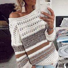 Melegant hollow out O-neck pullover women multicolor striped loose sweater lantern sleeve high street casual knitted tops Casual Sweaters, Casual Tops, Sweaters For Women, Women's Sweaters, Knitting Sweaters, Loose Sweater, Long Sleeve Sweater, One Shoulder Pullover, Look Blazer