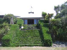 Tauapata, Coprosma repens used as hedging at Kekerengu store, New Zealand. Frontline coastal plant.
