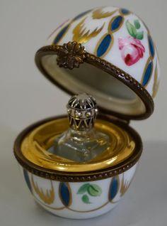 Limoges Porcelain France Egg Box Perfume Bottle