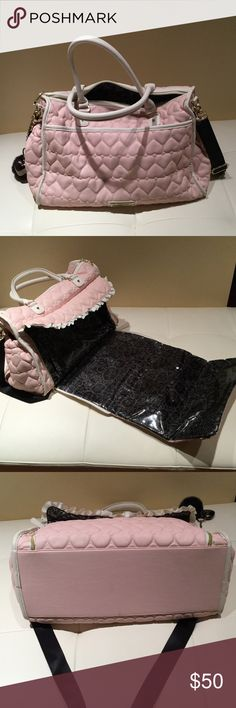 Large Betsy Johnson Diaper bag Light Pink and Black Quilted Satchel | Includes Changing Pad| Like New Condition Betsey Johnson Bags Baby Bags