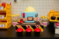 Cute cake for construction or tool party Construction Party Cakes, Construction Birthday Parties, 4th Birthday Parties, 3rd Birthday, Birthday Ideas, Birthday Cakes, Lego Construction, Birthday Banners, 1st Birthdays