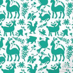 Otomi arte popular arte Stencil para pequeños proyectos DIY - diseños Animal mexicano pintados en tela, muebles, Scrapbooking
