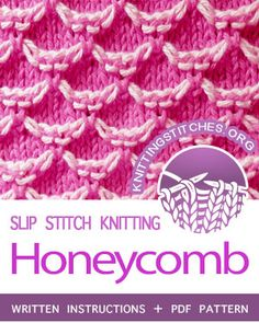 Two-Color Honeycomb Stitch. A multiple of 6 stitches + size can be adjusted by increasing or decreasing number of cast on stitches by Slip Stitch Knitting, Knitting Paterns, Knitting Stitches, Knitting Projects, Baby Knitting, Knitting Ideas, Honeycomb Stitch, Good Tutorials, How To Purl Knit