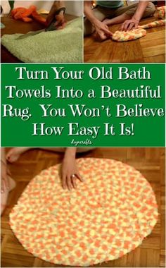 Turn Your Old Bath Towels Into a Beautiful Rug. You Won't Believe How Easy It Is! Have old bath towels laying around that you can't use? But I hate to throw away some Old Towels, Bath Towels, Bathroom Rugs, Bath Rugs, Diy Carpet, Rugs On Carpet, Hall Carpet, Beige Carpet, Modern Carpet