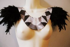 Steampunk jewelry black feather and sequin geometric statement collar with epaulettes epaulets Burning Man Festival
