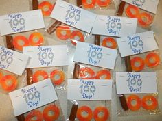 We celebrate 100 Days of School in my classroom on Thursday. I made a special 100th Day gluten-free snack for my students (1/2 a Tootsie Roll and 2 Trolli's peach rings).