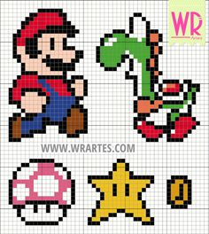 Cross stitch pattern of super mario bros Small Cross Stitch, Cross Stitch Designs, Cross Stitch Patterns, Hama Beads Patterns, Beading Patterns, Cross Stitching, Cross Stitch Embroidery, Modele Pixel, Perler Bead Mario