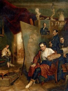 In the Studio of the Painter (1832). Wilhelm August Golicke (German, 1802-1848). Oil on canvas. Tretyakov Gallery, Moscow. Worked as an assistant to George Dawe, helping him to paint the portraits for the Military Gallery of the Winter Palace (1822–28). Studied at the Imperial Academy of Arts (1829–32), graduating with the title of free artist (1832). Copied portraits of Tsar Nicholas I and his wife by Franz Krüger and Christina Robertson.