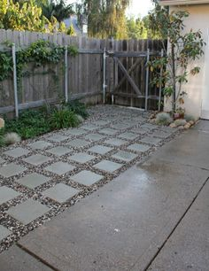patio transition. This is the plan -- no more brown spots in my grass...no more dirt outside my door. by MarylinJ
