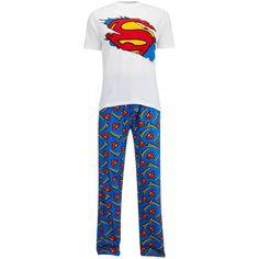 DC Comics Men's Superman Pyjama Set White #Superman #Pyjama