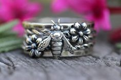 Silver Stacking Ring Set Sterling Silver Stacking Rings Stackable Rings Sterling Silver Rings Bee Ring Bee Jewelry Sterling Flower Ring by DeerGirlDesigns Silver Stacking Rings, Stackable Rings, Sterling Silver Flowers, Sterling Silver Rings, 925 Silver, Bumble Bee Jewelry, Bee Ring, Daisy Ring, Filigree Ring