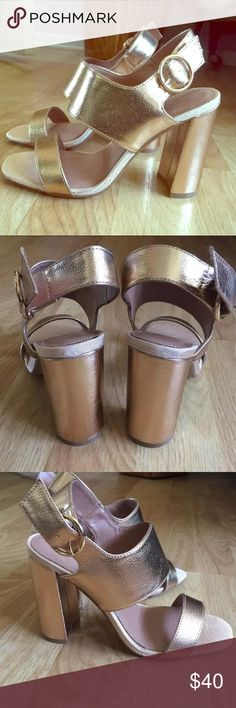 "TopShop stunning rose gold sandal heels- NEW Rose gold, 4"", size 5.5, fashionable and a must have! Topshop Shoes Heels"