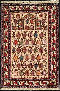 Caucasian Shirvan rug: Ivory ground Shirvan Marasali prayer rug